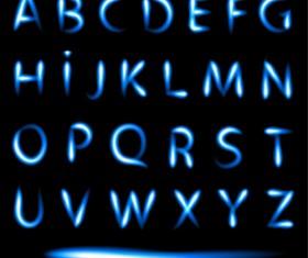 Blue light alphabet vectors