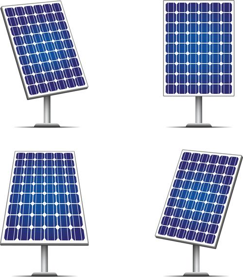 Blue solar panels vector material 01