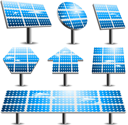 Blue solar panels vector material 03