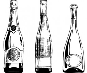 Bottles hand drawing vector design 01