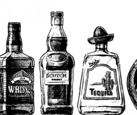 Bottles hand drawing vector design 03
