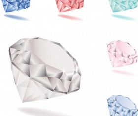 Bright colored diamonds vector set 01