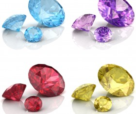 Bright colored diamonds vector set 02