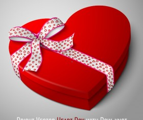 Bright heart box with bow-knot vector