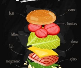 Burger Ingredients design vector 02