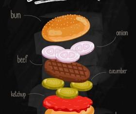 Burger Ingredients design vector 04