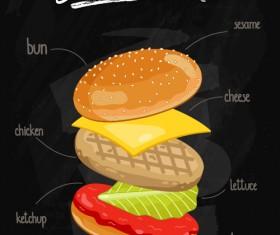 Burger Ingredients design vector 05