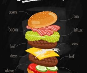 Burger Ingredients design vector 06