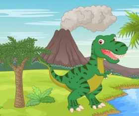 Cartoon dinosaurs with natural landscape vector 01