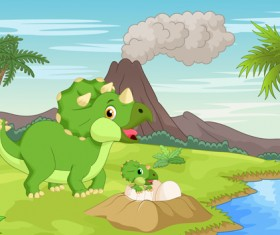 Cartoon dinosaurs with natural landscape vector 02