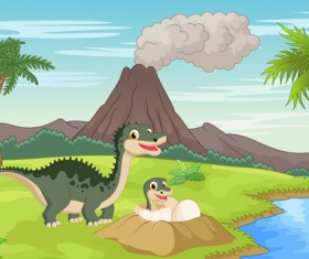 Cartoon dinosaurs with natural landscape vector 03