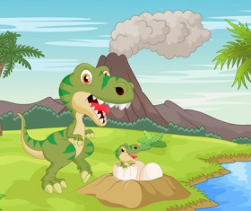 Cartoon dinosaurs with natural landscape vector 04