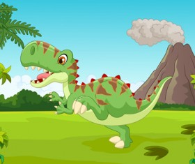 Cartoon dinosaurs with natural landscape vector 07