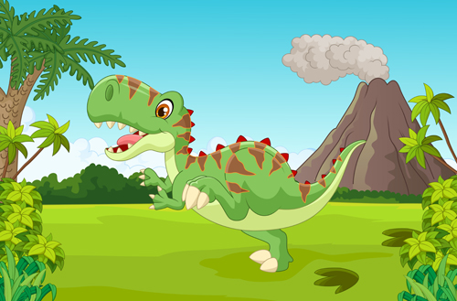 cartoon dinosaurs with natural landscape vector 07 free