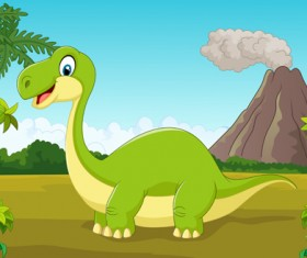 Cartoon dinosaurs with natural landscape vector 08