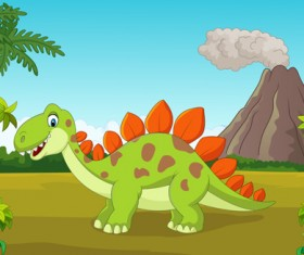 Cartoon dinosaurs with natural landscape vector 09