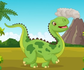 Cartoon dinosaurs with natural landscape vector 10