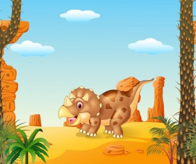 Cartoon dinosaurs with natural landscape vector 11