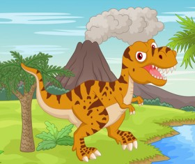 Cartoon dinosaurs with natural landscape vector 12