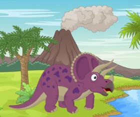 Cartoon dinosaurs with natural landscape vector 13