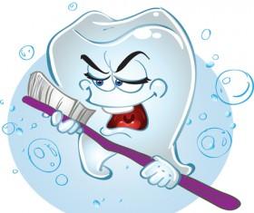 Cartoon singing tooth vector material