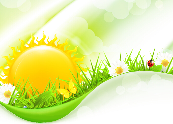 Cartoon sun with spring vector background 03 - Vector Background ...