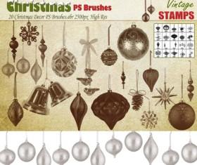 Christmas baubles photoshop brushes set