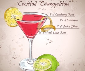 Cocktail poster hand drawing vectors 01