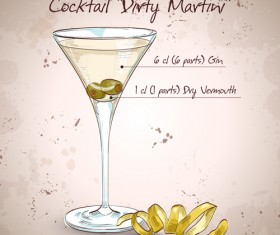 Cocktail poster hand drawing vectors 05