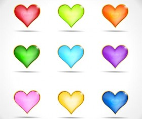 Colored heart icons vector set