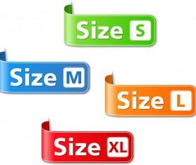 Colored size labels vector set 01