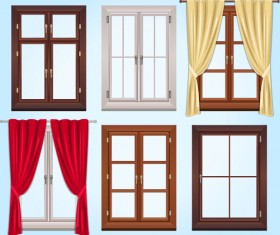 Colored windows and curtains vector