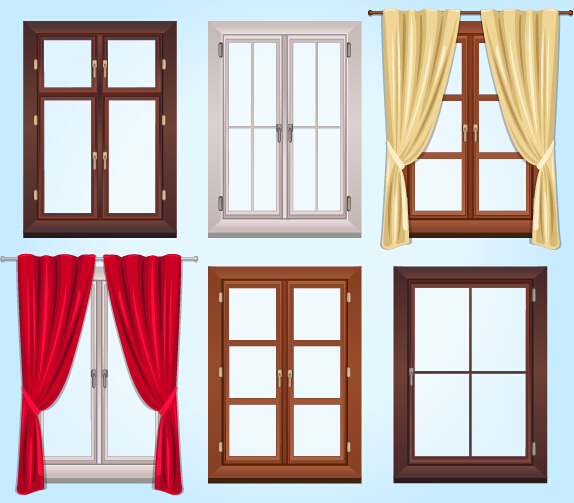 Colored windows and curtains vector vector life free for Window design cartoon