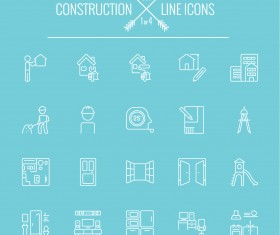 Construction line icon set 01