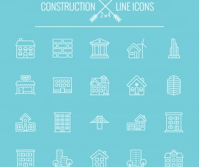 Construction line icon set 02