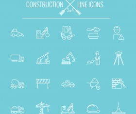 Construction line icon set 03