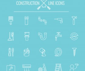 Construction line icon set 04
