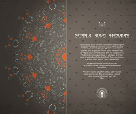 Curls and hearts card vector 01