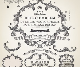 Decor frame with ornaments elements vintage vector 03