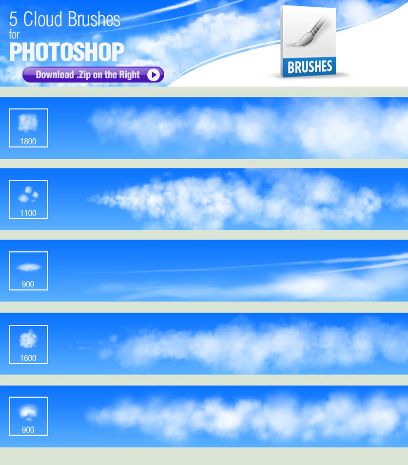 Different clouds Photoshop brushes - Photoshop Brushes free download