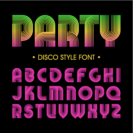 Disco party alphabet fonts vector 01