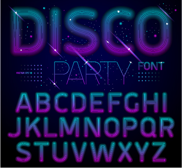 Disco Party Alphabet Fonts Vector 02