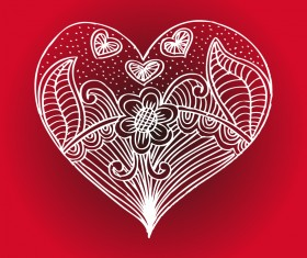Doodle heart with floral vector material 01