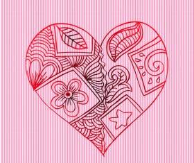 Doodle heart with floral vector material 02
