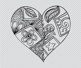 Doodle heart with floral vector material 03