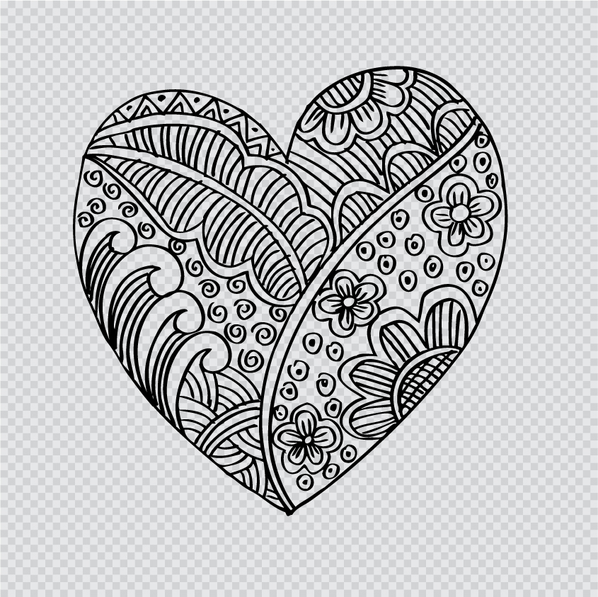 Doodle Heart With Floral Vector Material 05