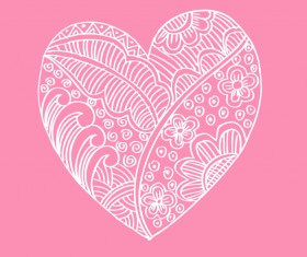 Doodle heart with floral vector material 06