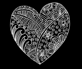 Doodle heart with floral vector material 07