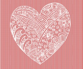 Doodle heart with floral vector material 08