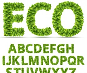 Eco alphabet with green leaves vector